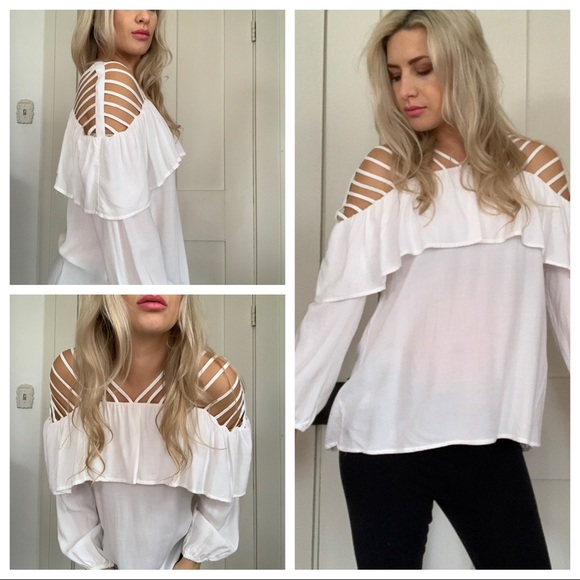 5d12f671dc6 entro Tops | White Strappy Ruffle Top Long Sleeve New M | Poshmark